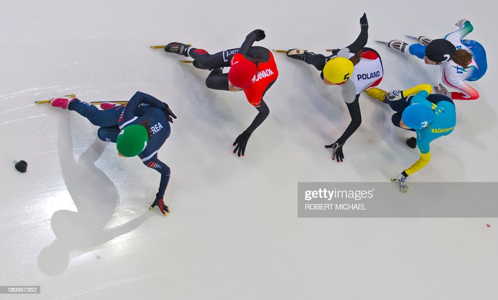 Skaters compete in the women's 1500m heat race of the ISU World Cup short track speed skating event in Dresden, eastern Germany, on February 8, 2013.