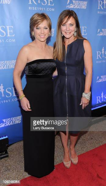 Skaters Dorothy Hamill and Peggy Fleming attend the New York premiere Of 'RISE' at Best Buy Theater on February 17 2011 in New York City