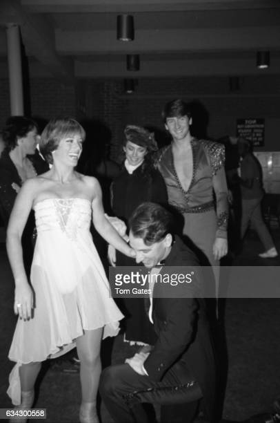 Skaters Dorothy Hamill Peggy Fleming and others at the opening ceremony for Wollman Rink in Central Park on November 13 1986 in New York New York