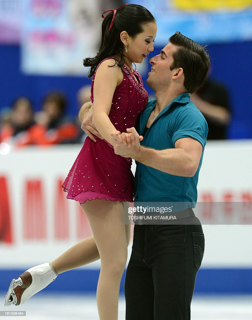 US skaters Felicia Zhang (L) and Nathan Bartholomay perform their free skating performance in the pairs event during the Four Continents figure skating championships in Osaka on February 10, 2013. AFP PHOTO / TOSHIFUMI KITAMURA