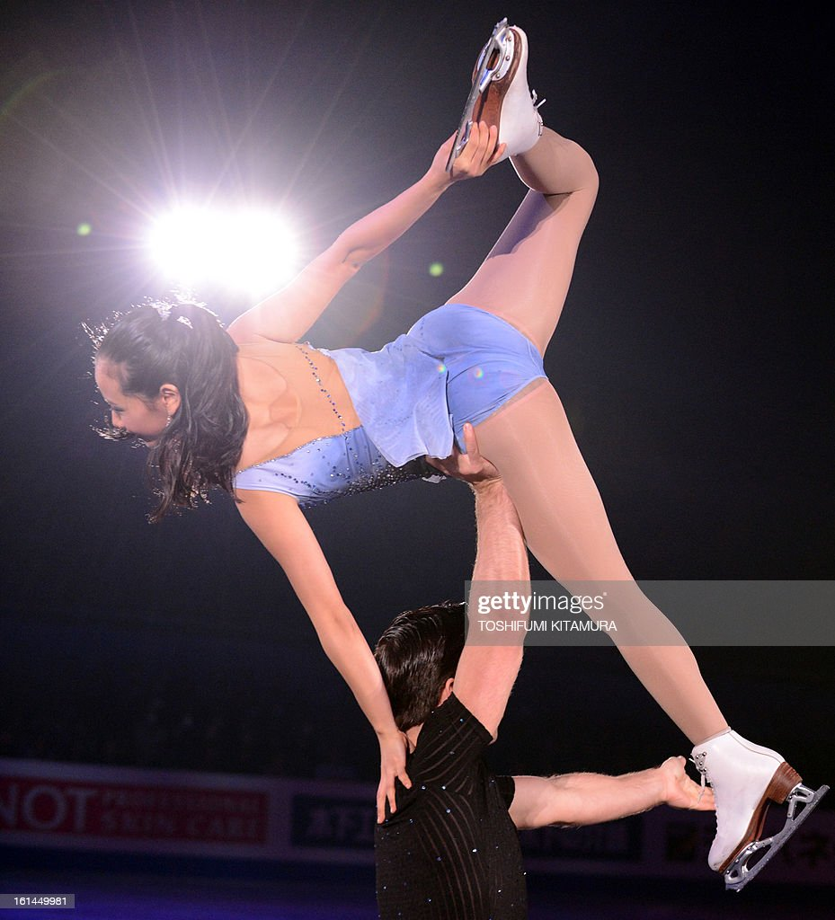 US skaters Felicia Zhang and Nathan Bartholomay perform their pairs routine in the gala exhibition event after the Four Continents figure skating championships in Osaka on February 11, 2013. AFP PHOTO / TOSHIFUMI KITAMURA