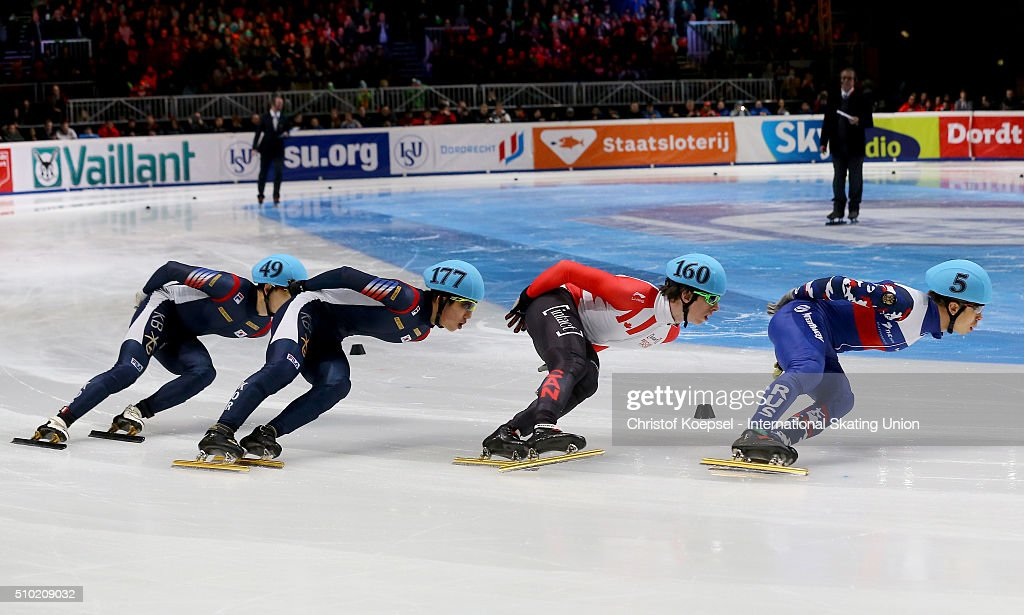 Skaters in action during the men 1000m second race final A during Day 3 of ISU Short Track World Cup at Sportboulevard on February 14, 2016 in Dordrecht, Netherlands.