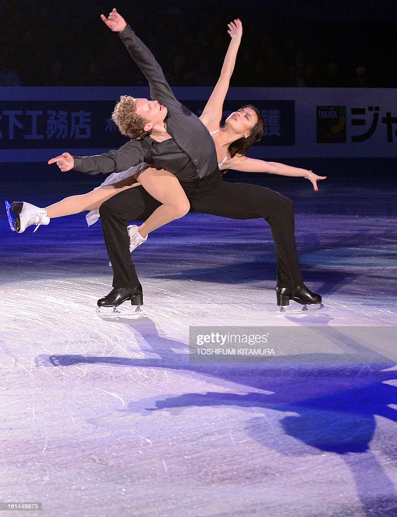 US skaters Madison Chock and Evan Bates perform their ice dance routine in the gala exhibition event after the Four Continents figure skating championships in Osaka on February 11, 2013.