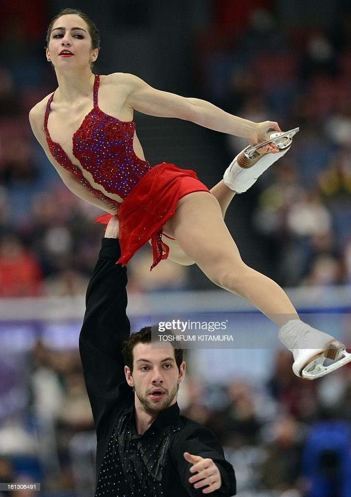 US skaters Marissa Castelli (top) and Simon Shnapir perform their free skating performance in the pairs event during the Four Continents figure skating championships in Osaka on February 10, 2013.