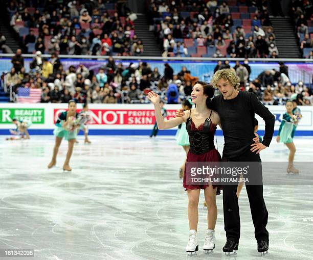 US skaters Meryl Davis and Charlie White wave after their ice dance free dance event at the Four Continents figure skating championships in Osaka...