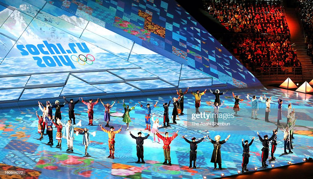 Skaters perform during the 'One Year To Go Before Sochi Winter Olympic' ceremony at Bolshoi Ice Dome on February 7, 2013 in Sochi, Russia. Sochi Winter Olympics begins on February 7, 2014.