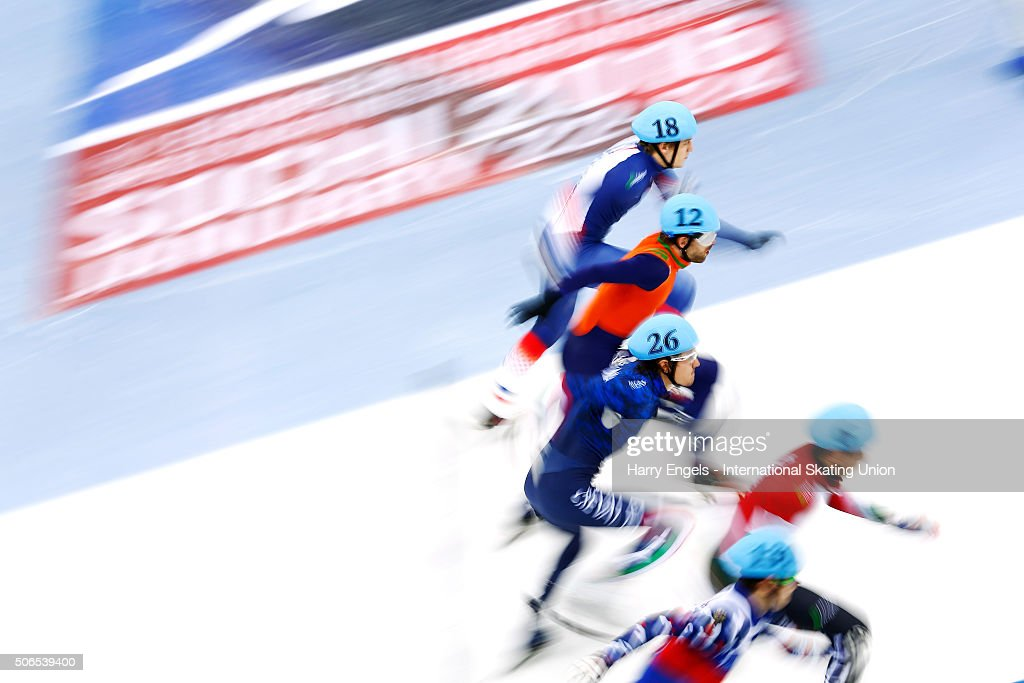 Skaters sprint off from the start during the Men's 1000m Quarterfinals on day three of the ISU European Short Track Speed Skating Championships at...