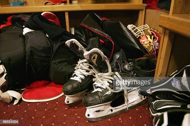 Skates are shown in the Primus Worldstars locker room on December 9 2004 at the Riga Sporta Pils in Riga Latvia