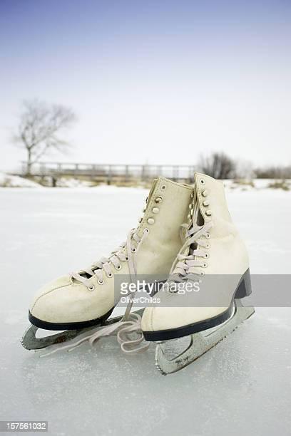 Skates on a frozen pond.