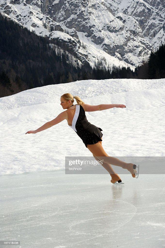 Skating On Natural Ice Stock Photo