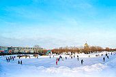 Skating on sunny winter day
