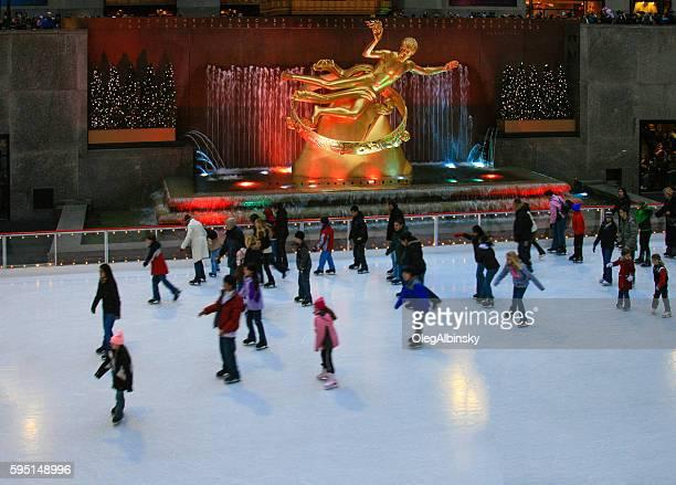 Skating Rink at Rockefeller Center, Christmas Time, New York City.