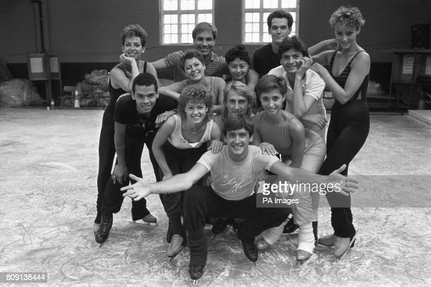 Skating star Robin Cousins with his company at a bus garage in Avonmouth where they were rehearsing for their new show 'Ice Majesty'