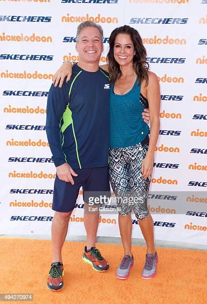 Skechers President Michael Greenberg and Actress Brooke BurkeCharvet attend the 7th Annual Skechers Friendship Walk at Manhattan Beach Pier on...