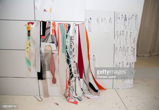 Skeches by designer Bibhu Mohapatra and fabric swatches pinned to his studio wall on September 5 one week prior to his runway show at MercedesBenz...