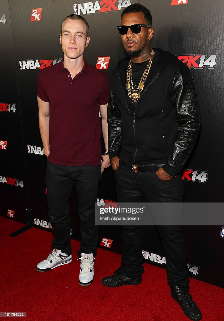 DJ Skee (L) and rapper Game attend the premiere party for the NBA2K14 video game at Greystone Mansion on September 24, 2013 in Beverly Hills, California.