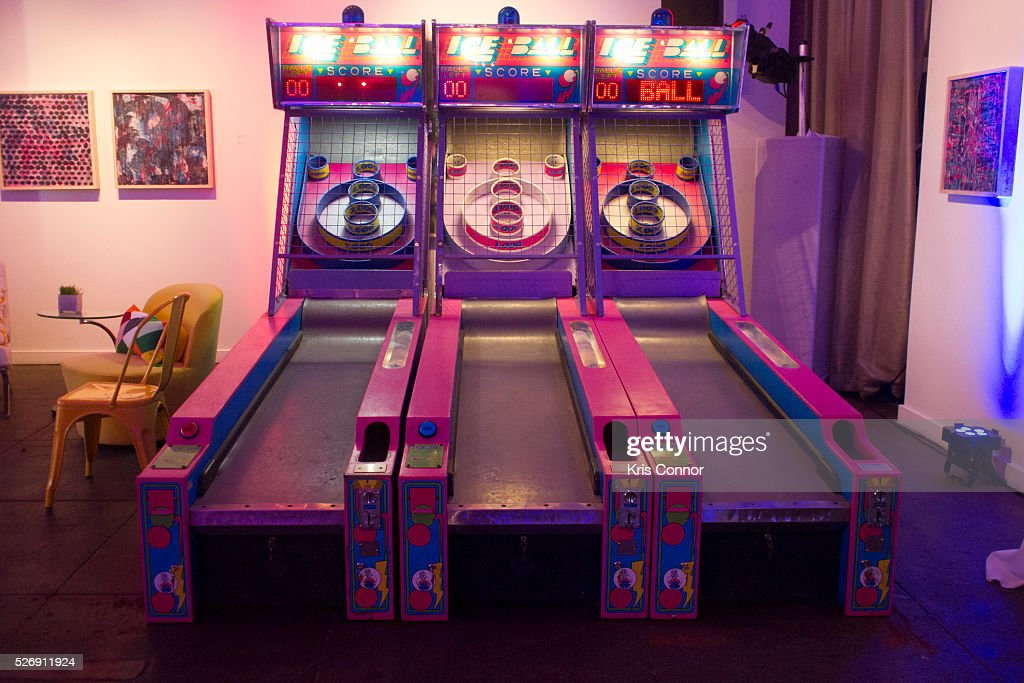 Skee ball machines are set-up for guests to play during the 2016 CNN Correspondents' Brunch at the Longview gallery in Washington, DC on May 1, 2016.