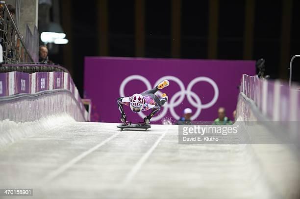 2014 Winter Olympics USA Noelle PikusPace in action during Women's Heat 3 at Sanki Sliding Center PikusPace won silver Krasnaya Polyana Russia...