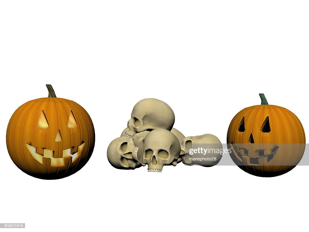 skeleton and pumpkin - 3d render : Stock-Foto