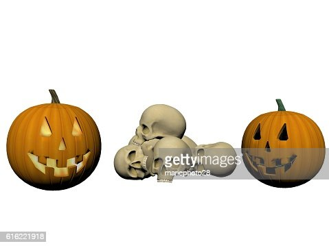 skeleton and pumpkin - 3d render : Foto stock