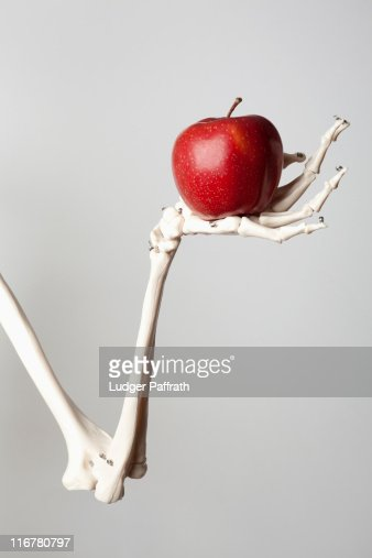 A skeleton arm and hand holding a red apple