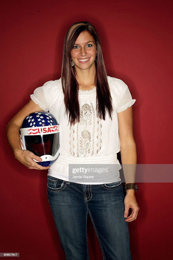 Skeleton athlete Noelle PikusPace poses for a portrait during Day Two of the 2010 US Olympic Team Media Summit at the Palmer House Hilton on...