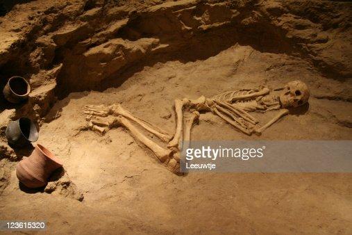 skeleton bones in grave