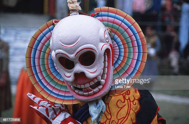 A skeleton dancer at the annual Bumchu Masked Dance Festival in Sikkim Held immediately before the tibetan Losar or New Year the festival is designed...