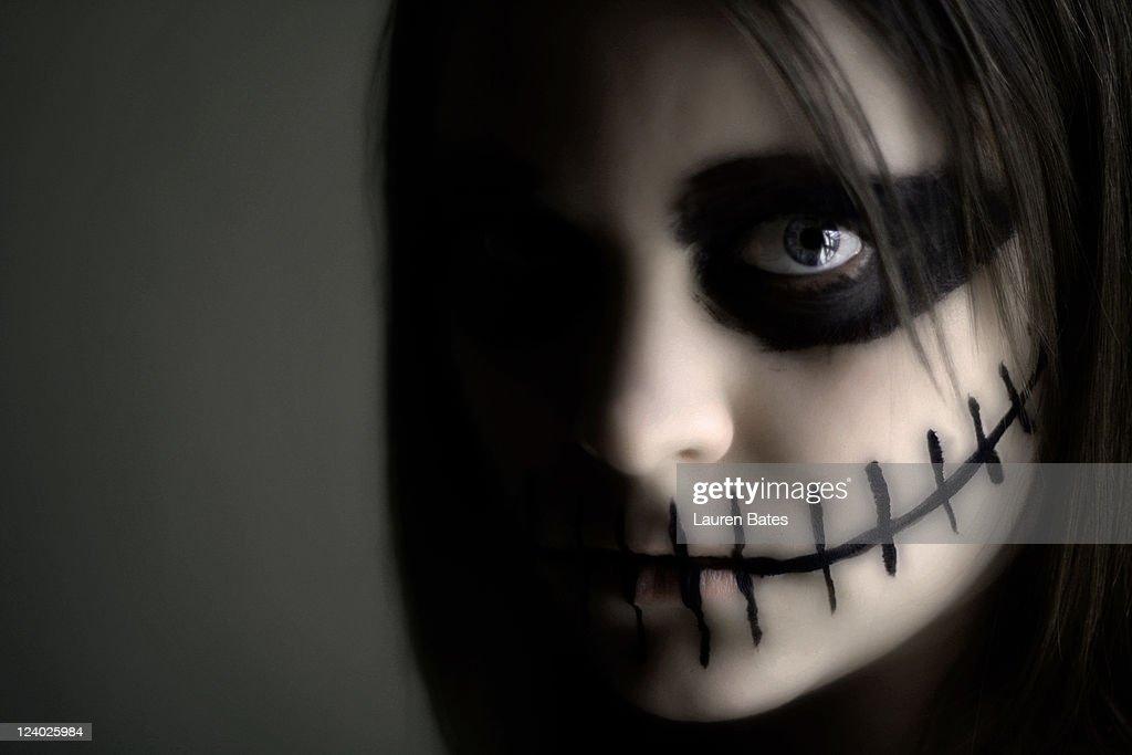 Skeleton face paint : Stock Photo