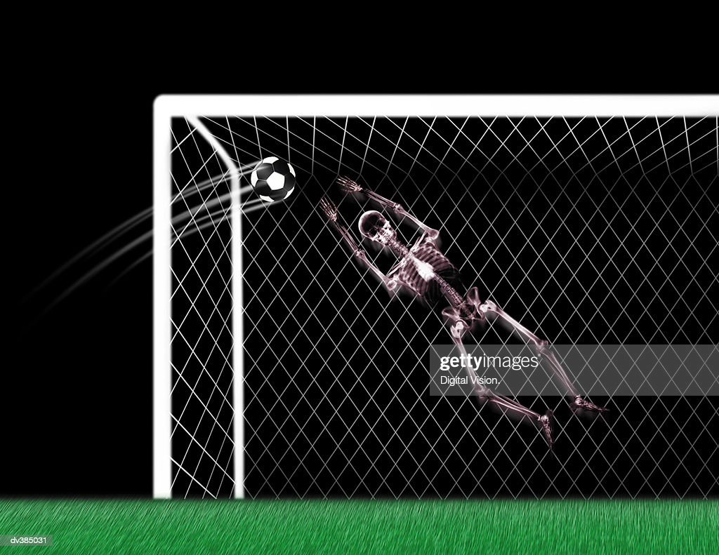 Skeleton goalie in soccer match : Stock Photo