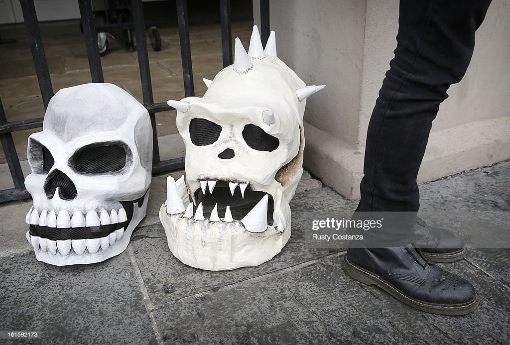 Skeleton heads rest on the ground in Jackson Square on Mardi Gras Day in French Quarter February 12, 2013 in New Orleans, Louisiana. Fat Tuesday, the traditional celebration on the day before Ash Wednesday and the begining of Lent, is marked in New Orleans with parades and marches through many neighborhoods in the city.