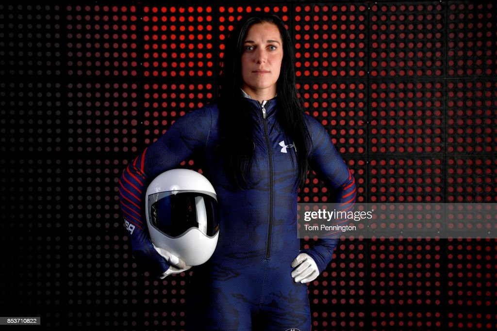 Skeleton racer Annie O'Shea poses for a portrait during the Team USA Media Summit ahead of the PyeongChang 2018 Olympic Winter Games on September 25, 2017 in Park City, Utah.