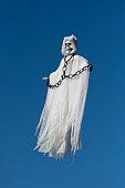 Skeleton spirit figure floating in the sky