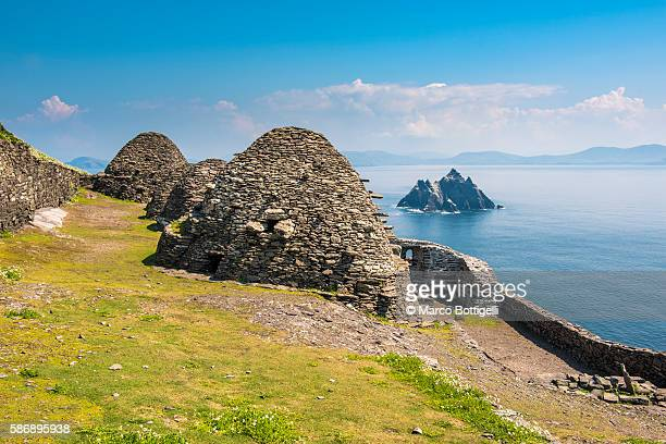 Skellig Michael (Great Skellig), Skellig islands, County Kerry, Munster province, Ireland, Europe. Monastery's architecture on the top of of the island.