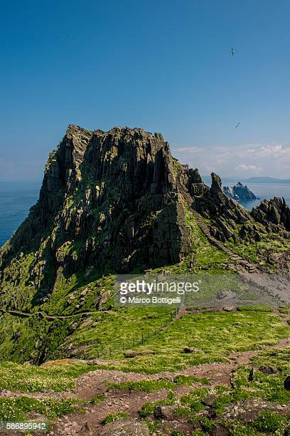 Skellig Michael (Great Skellig), Skellig islands, County Kerry, Munster province, Ireland, Europe. The stone stairs leading to the monastery on top of the island.