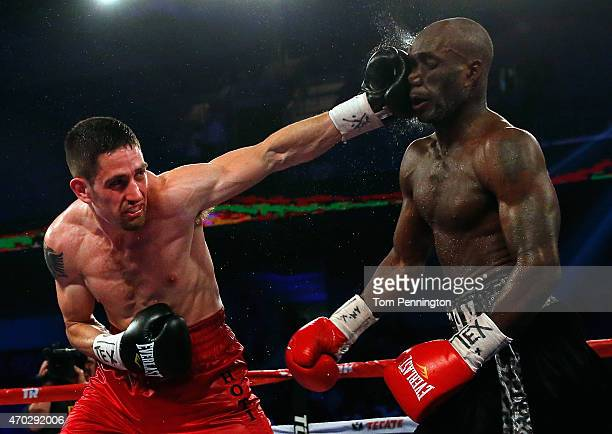 Skender Halili lands a punch against Benjamin Whitaker in the third round of their welterweight bout at College Park Center on April 18 2015 in...