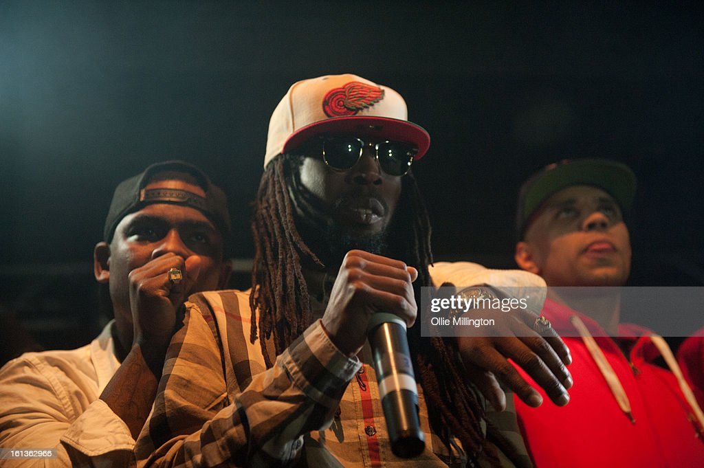<a gi-track='captionPersonalityLinkClicked' href=/galleries/search?phrase=Skepta&family=editorial&specificpeople=5378007 ng-click='$event.stopPropagation()'>Skepta</a> and Jammer perform on stage at 'The Eskimo Dance' at 02 Academy on February 9, 2013 in Leicester, England.