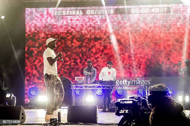 Skepta performs on the mainstage with Wiley and DJ Maximum during the 2nd day of Bestival 2016 at Robin Hill Country Park on September 10 2016 in...