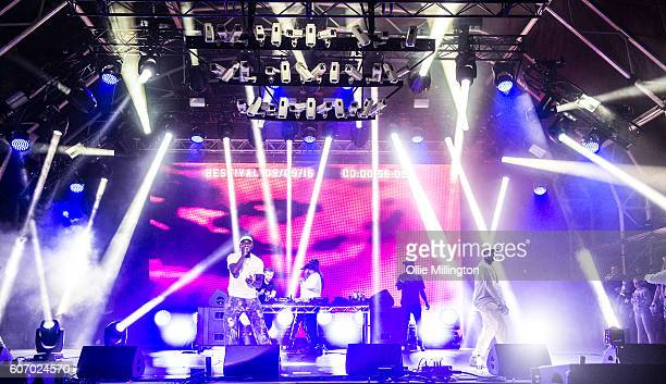 Skepta performs on the mainstage with Wiley Frisco DJ Maximum and Shorty during the 2nd day of Bestival 2016 at Robin Hill Country Park on September...