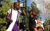 Skerrit Bwoy and Mimi of Major Lazer perform during the 2010 Pitchfork Music Festival at Union Park on July 18 2010 in Chicago Illinois