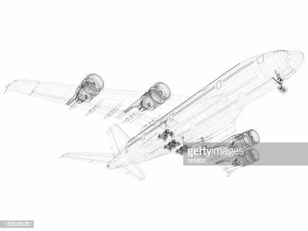 3D Sketch architecture abstract Airplane A380-01