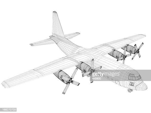 3D Sketch architecture  Cargo Military Transport Airplane  Lockheed C-130 Hercules
