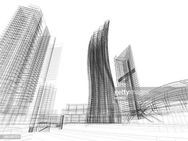 3 D Skizze der Architektur Blueprint-Fantasie
