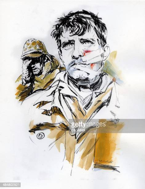 A sketch drawn for the US Army 'Stars and Stripes' newspaper of a wounded American GI in 1944 somewhere in France
