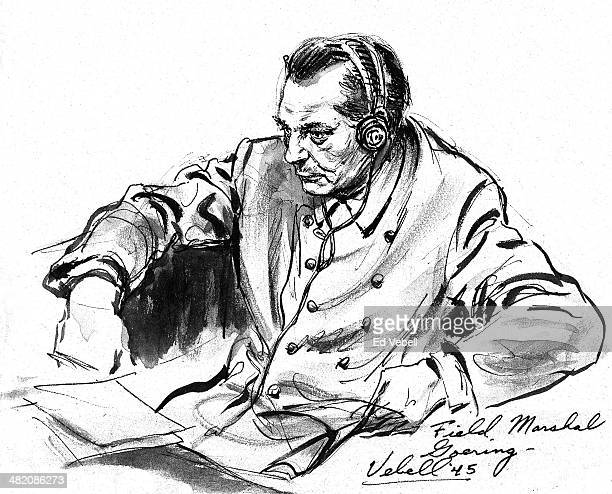 A sketch drawn for the US Army 'Stars and Stripes' newspaper shows defendant Reichsmarschall Hermann Goring in the dock at the Nazi War Crimes Trials...