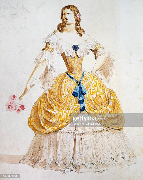 Sketch for the costume of Violetta for the Traviata by Giuseppe Verdi watercolour Italy 19th century