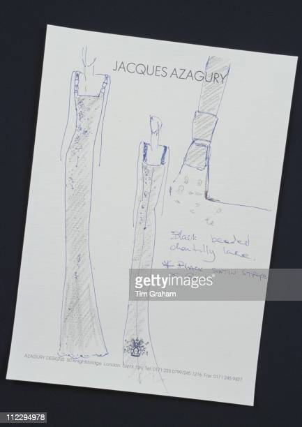 Sketch of a dress designed for Diana Princess of Wales by fashion designer Jacques Azagury 28 November 1997 Diana wore the completed garment to an...