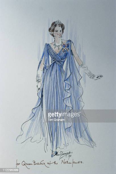 Sketch of a dress designed for Queen Beatrix of the Netherlands by fashion designer Ian Thomas 25 September 1990