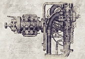 Design of an old machine, 3D Illustration