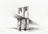 Sketch of Brooklyn Bridge, viewed from Manhattan